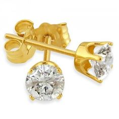 This page describes the Gold Diamond Stud Earring. Yellow and White Gold is described here. There can also be a drawback to gold to due allergies in nickel. http://mydiamondearring.com/gold-diamond-stud-earring