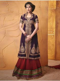 Dark Purple Georgette Suit With Heavy Embroidery Work