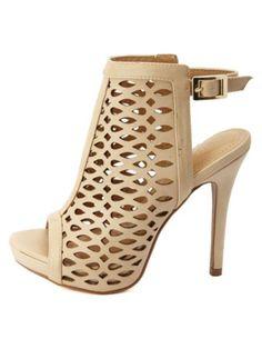 Laser Cut-Out Peep Toe Heels: Charlotte Russe
