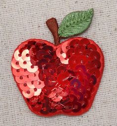 "Sequin Single Red Apple Iron on Applique High quality, detailed embroidery applique. Can be sewn or ironed on. Great for hats, bags, clothing, and more! Size is approx. 1-1/2"" x 1-3/4"" or 3.81cm x 4.4"