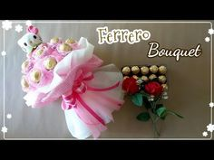 How to wrap kitty ferrero bouquet/วิธีทำช่อคิตตี้เฟอร์เรโร่ Diy Bouquet, Candy Bouquet, Crepe Paper Flowers, Fabric Flowers, Ferrero Bouquet, Chocolate Bouquet Diy, Candy Crafts, Diy And Crafts, Projects To Try