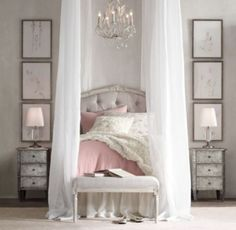 RH baby&child's Colette Tufted Headboard:Sweetly sophisticated, our tufted linen headboard exhibits all the hallmarks of the Louis XV antique we were inspired by, with its classic curves and detailed carvings.