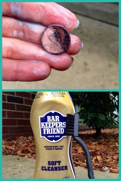 I tried vinegar salt, vinegar baking soda, ketchup, cola, brass cleaner. The best way to clean pennies is to soak them in BarKeepers Friend for then scrub until gunk comes off. A little time consuming but your pennies will be as shiny as they can be! Bar Keepers Friend, Vinegar Salt, Random Items, How To Remove Rust, Pennies, Dream Bedroom, Ketchup, Cleaning Hacks, Baking Soda