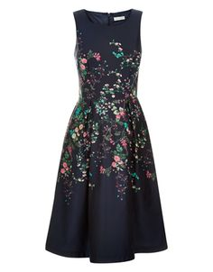 Flora Print Placement Dress | Navy | Monsoon