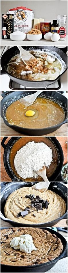 Dark Chocolate Chunk Skillet Cookie. Why would I not pin this!