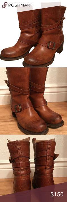 Frye Vera Strappy Tan Boots Frye Leather Vera Strappy Tan boots Frye Shoes Heeled Boots
