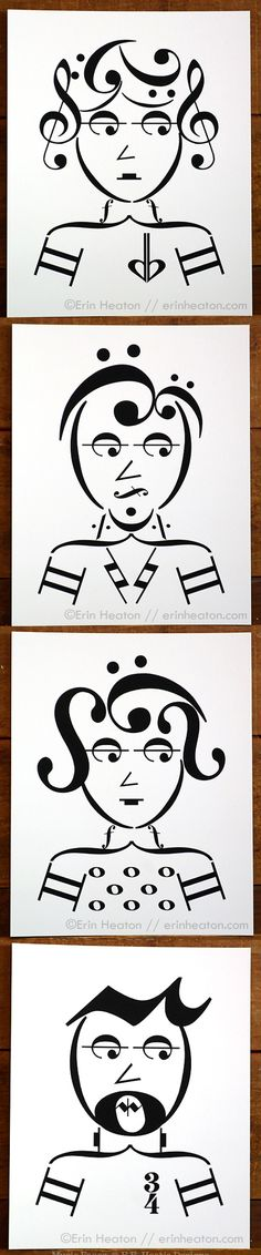 Get four prints for a discounted price! These cool kids are made entirely of music notes and symbols! Archival quality prints of digital illustrations, printed in deep matte black pigment ink on brigh Music Note Symbol, Music Notes Art, Music Symbols, Music And Art, New Music, Good Music, Music Drawings, Music Pictures, Girl Pictures