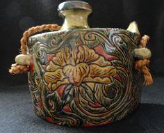 Antique Japanese Ceramic Flask Polychrome by ArtsCollectiblesbyKT, $99.00