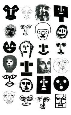 Bruno Munari Múltiplas interpretações simplificadas da face humana