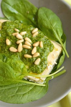 Spinach Pesto Baked Trout