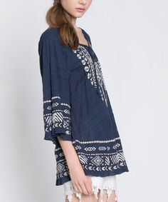 Look what I found on #zulily! Navy Geometric Embroidered Peasant Top #zulilyfinds