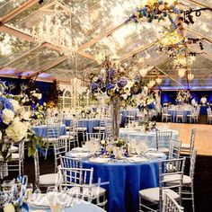 Tented wedding at the Chagrin Valley Hunt Club; DIY wedding planner with diy wedding ideas and How To info including DIY wedding decor inspiration and tutorials. Everything a DIY bride needs to have a fabulous wedding on a budget! Blue Silver Weddings, Blue Wedding, Blue And Silver, Blue And White, Elegant Wedding, Wedding Flowers, Clear Tent, Cleveland Wedding, Hunt Club
