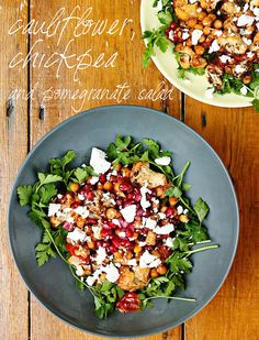 Nigella Lawson& amazing cauliflower, chickpea and pomegranate salad - my new favourite easy lunch! Healthy Eating Recipes, Vegetable Recipes, Healthy Snacks, Vegetarian Recipes, Vegetable Dishes, Nigella Lawson, Roasted Cauliflower Salad, Pomegranate Salad, Vegan Dishes