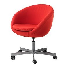IKEA - SKRUVSTA, Bureaustoel,  , Vissle roodoranje, , Doordat de stoel in hoogte verstelbaar is, zit je comfortabel.De met rubber beklede wielen rollen soepel op alle soorten vloeren.