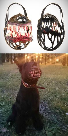 If you're afraid to walk your dog at night (and your dog is the kind that would rather lick the attacker than protect you) – this werewolf muzzle is for you! The Russian-designed dog muzzle sells for about 30 USD and permits your dog to slightly open its mouth, allowing it to pant. It is made from non-toxic plastic and nylon.