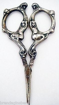 Antique Art Nouveau Sewing Desk Scissors Sterling Silver Figural Maidens Antique Art Nouveau Sewing Desk Scissors Sterling Silver Figural Maidens More from my sitebutton crafts projects Vintage Scissors, Sewing Scissors, Embroidery Scissors, Vintage Embroidery, Small Scissors, Vintage Sewing Notions, Antique Sewing Machines, Vintage Sewing Patterns, Art Antique