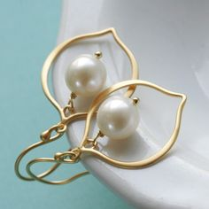 Lotus Petal Freshwater Pearl Earrings  Gold Edition by Englady, $27.00
