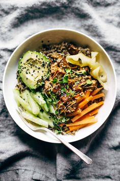 Dynamite Sushi Bowls! just like a dynamite roll, but easier and healthier with tofu, avocado, cucumber, ginger, brown rice, and spicy mayo. Vegetarian / easily made vegan. | pinchofyum.com
