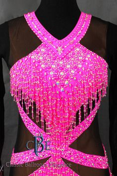 Latin Ballroom Dress for Sale, view of bodice. Dress BRB257 is available for Rental or purchase exclusively thru Classic Ballroom Elegance at www.cberentals.com