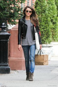 A moto jacket is an instant way to add edge to any look. Try it with a classic dress or striped tee for a casual day of errands (Keri Russell)