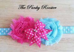 Baby Headband, Newborn Headband, Polka Dot Flower Bow, Fabric Flower Headband, Hair Clip, Shabby Chic Headband, Photo Prop