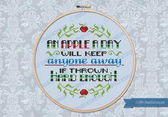 An apple a day... quote - Cross Stitch Patterns - Products