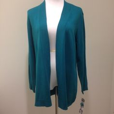 NWOT JM Collection cardigan You know you need this turquoise cardigan in the office! 88% acrylic, 12% nylon. Macy's Sweaters Cardigans