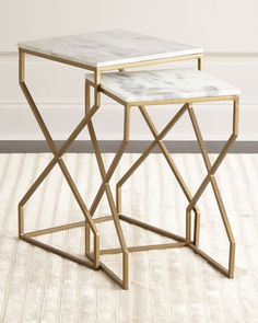 "Handcrafted end tables. Vintage-inspired design. Iron and marble. Matte-brass finish. Set includes 12""Sq. x 19.5""T and 14""Sq. x 22""T tables. Imported. Boxed weight, approximately 49 lbs."