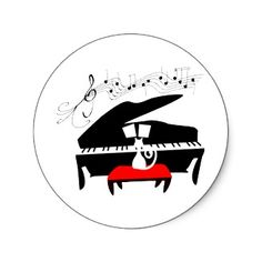 Cat and Piano round sticker.