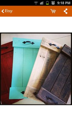 Trays made out of pallets great DIY project-could use from old shutters.