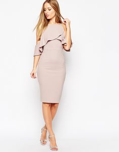 Image 1 of ASOS Textured Cold Shoulder Ruffle Midi Dress