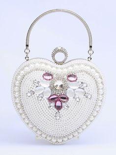 1cbd0e5b86 Wedding Clutch Bags Silver Heart Shape Beaded Bridal Evening Party Handbags