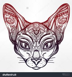 Vintage Ornate Cat Head With Tribal Ornaments. Ideal Ethnic Background, Tattoo…