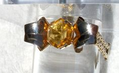 Citrine Glass Bracelet, Art Deco Bracelet,Gold Tone,Open Back Crystal, 1940's Bracelet, Unusual, Vintage, Geometric, Yellow by Oldtreasuretrunk on Etsy