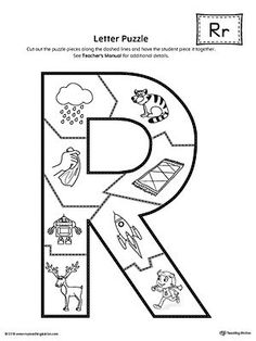 Letter R Puzzle Printable Worksheet.The Letter R Puzzle is perfect for helping students practice recognizing the shape of the letter R, and it's beginning sound, along with developing fine-motor skills. Letter R Activities, Letter R Crafts, Letter Games, Speech Therapy Activities, Teaching Sight Words, Teaching Letters, Preschool Letters, Preschool Age, Prek Literacy
