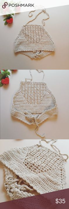 ⓝⓔⓦ Lace Up Crotchet Crop Top Lace Up Crotchet Crop Top  - Color: beige  - Bust: 28.35  - Length: 7.87 - Brand new! NWOT Tops Crop Tops