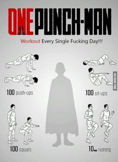 One-Punch Man workout! One-Punch Man Know Your Meme Saitama One Punch Man, One Punch Man Anime, Gym Workout Tips, Ab Workout At Home, Workout Challenge, At Home Workouts, Workout Plans, Easy Daily Workouts, Workout Men