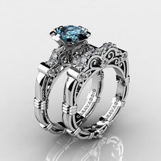 Art Masters Caravaggio 14K White Gold 1.0 Ct Blue Topaz Diamond Engagement Ring Wedding Band Set R623S-14KWGDBT - Perspective
