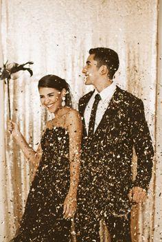 Black and gold New Year's Eve wedding, photo by Hazelwood Photo http://ruffledblog.com/black-and-gold-new-years-eve-wedding #weddingideas #newyearseve