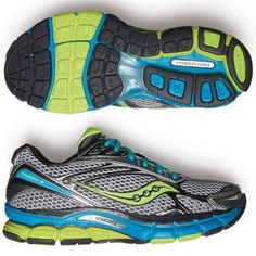 """Best Running Shoes: Saucony Triumph 9  Ideal for: cushioning   Pavement pounders, this sneaker has your back. Thick cushioning in the midsole and a memory foam sock liner create the sensation of """"running on a cloud."""" The blown-rubber outsole is an additional buffer between your foot and the ground, providing """"dependable traction, even on rain- slicked sidewalks."""" ($130; saucony.com)"""