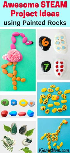 Creative steam (science math engineer art tech) learning activities for kids using painted rocks. Stem Projects For Kids, Stem For Kids, Science Fair Projects, Math For Kids, Science Activities For Kids, Stem Science, Stem Activities, Learn Science, Science Videos