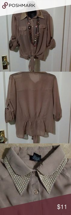 Top Button down, studded collar, sheer top, tie up waste, elastic back, taupe color Rue21 Tops