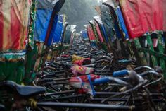 Duizenden riksja's in Dhaka