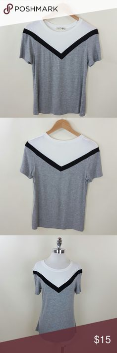 Color block heather grey top Color block heather grey top 95% rayon5% spandex Tops Blouses