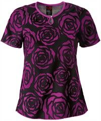 Eckored Scrubs Moonlit Rose Print Top, Style #  E2107MLR #scrubs, #fashion, #cerise, #nurses, #uniformadvantage, #pantone2014radiantorchid, #eckoredscrubs