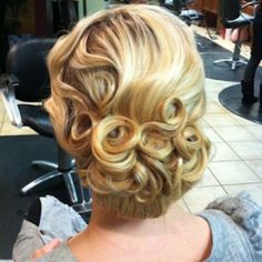 Victorian style Updo, perfect for weddings, prom, ECt. Finger-waves and pin curls with a Low wide bun. <3