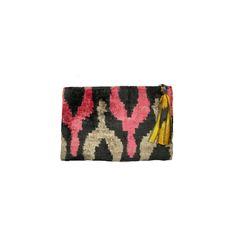Velvet Ikat Clutch - Pink / Yellow