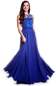 57fb214f42c Sheath Sleeveless Jewel Neck Appliqued Chiffon Prom Dress