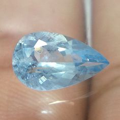 10x6 MM Top Natural Faceted Aquamarine  1.2 Cts Pear Cut Stone HIGH QUALITY  #NAAZGEMS