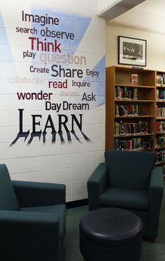 A mural in the High School Resource Centre by Alum Zachary Cartman inspires students. (Perhaps using wall clings to denote spaces in the library is better for signage)--specifically the stacks area School Library Decor, School Library Displays, Middle School Libraries, Teen Library, Library Wall, Elementary Library, Library Ideas, Library Decorations, Library Inspiration
